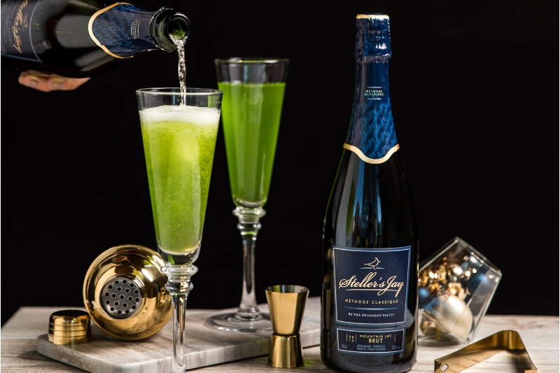 sparkling melon cocktail recipe with stellers jay mountain jay brut