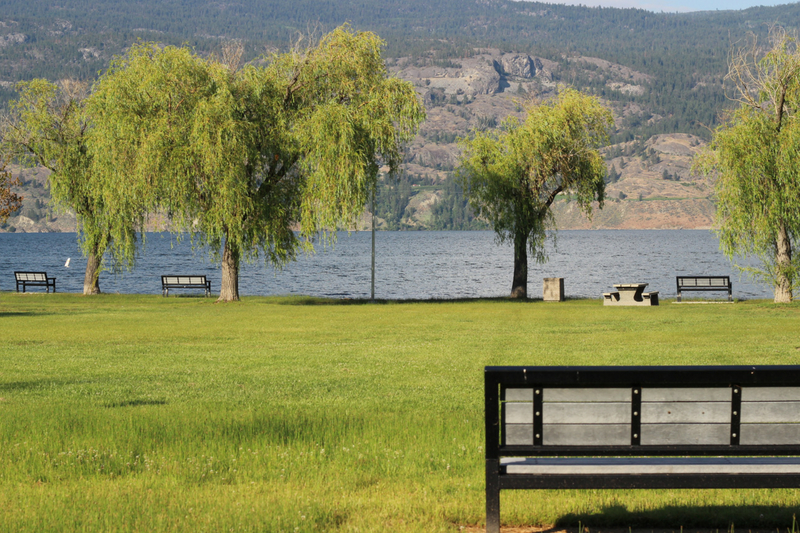 picnic area at peach orchard park in summerland