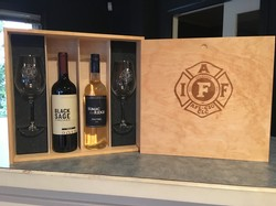 Double Bottle Wooden Gift Boxes | IAFF Logo