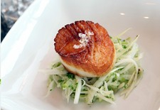 Seared Sea Scallops On Apple & Celery Slaw With Riesling Vinaigrette