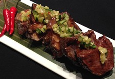 Miso Grilled Beef Ribs With Scallion & Ginger Salsa